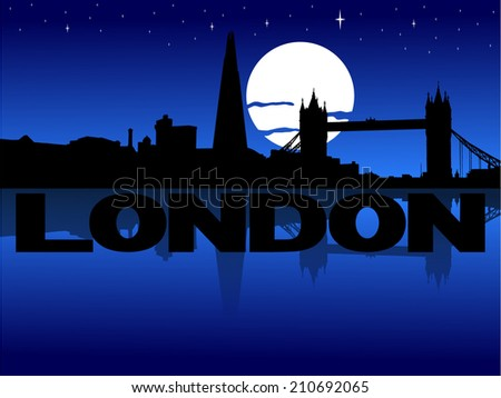 London skyline reflected with text and moon vector illustration - stock vector