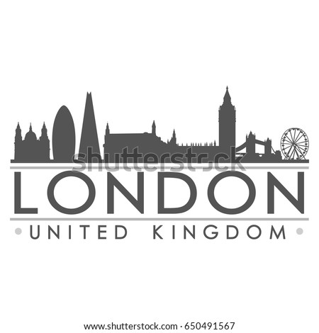 London Skyline Silhouette Design City Vector Art