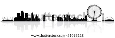 London skyline silhouette isolated on a white background with reflections - stock vector