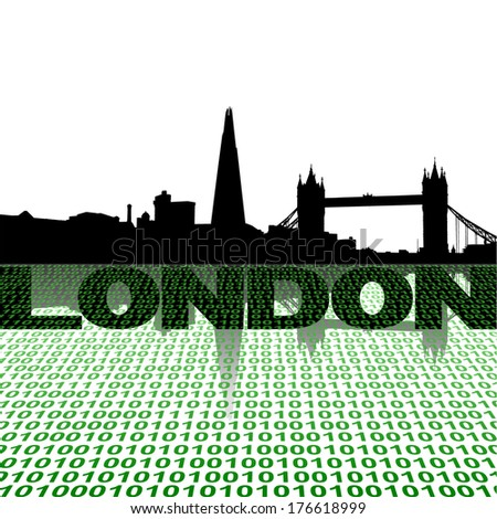 London skyline with binary foreground vector illustration - stock vector