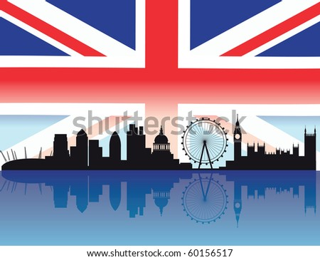 London skyline with flag and reflection of buildings in the thames - stock vector