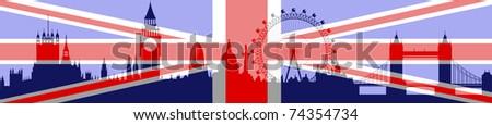 London skyline with flag - vector - stock vector