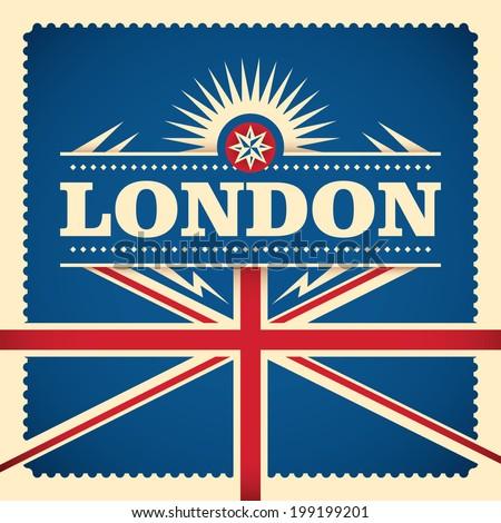 London sticker design with flag. Vector illustration. - stock vector