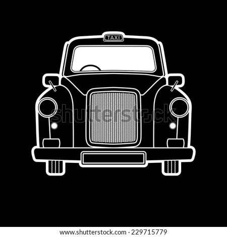 London symbol -  Black cab graphics Isolated design - Vector illustration   Taxi illustration in a simplified, info - graphics, silhouette style - stock vector