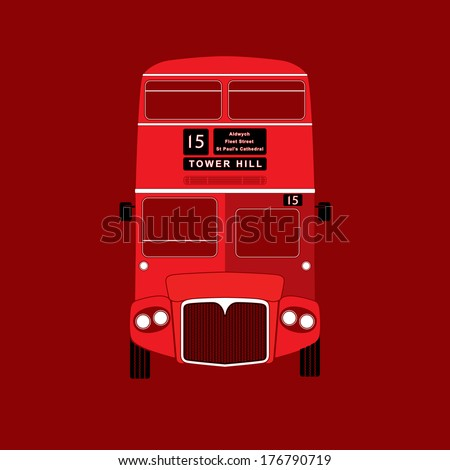 London symbol - red bus  icon - double decker - vector illustration - silhouette, stencil style - stock vector