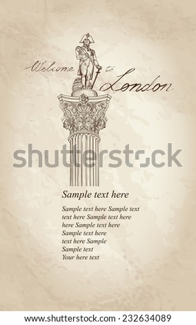 London symbol vintage background with copy space. Admiral Nelson statue column on Trafalgar Square, London, England, UK. - stock vector