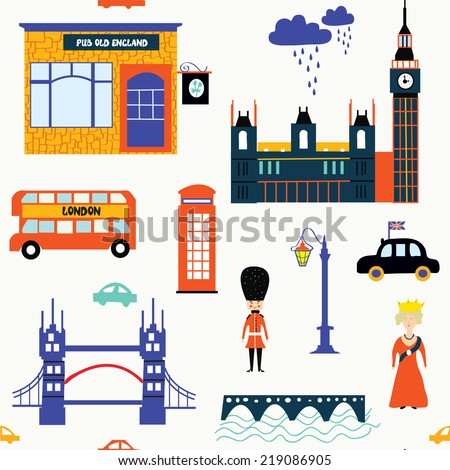 London symbols funny seamless pattern  - stock vector