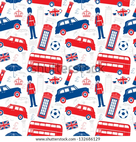 London symbols  -  Icons - Seamless vector patten - Silhouette and outline  style - Very detailed illustrations - stock vector