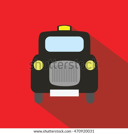 London Taxi long shadow flat vector