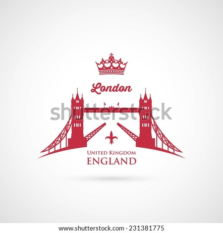 London Tower Bridge symbol - vector illustration - stock vector