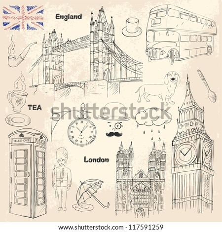 London travel collection with different british elements. Sketch icons of England - stock vector