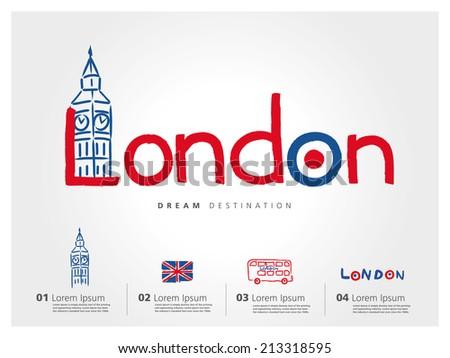 London travel set, England, Big Ben, bus, typography - stock vector