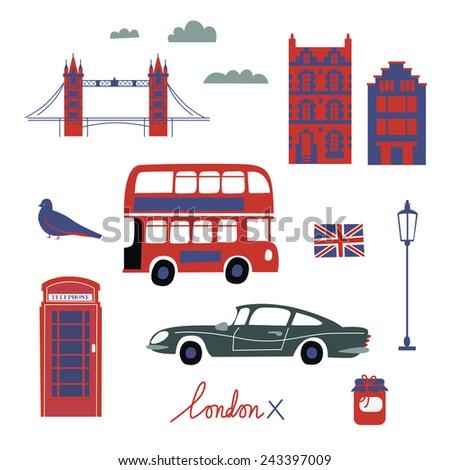 London travel symbols set - stock vector