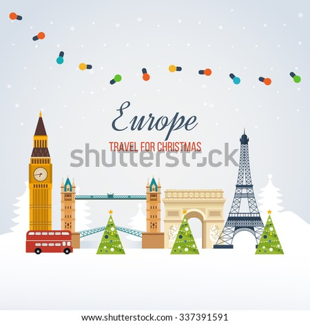 London, United Kingdom and France flat icons design travel concept. Travel to Europe for christmas. Invitation card with winter city life and space for text. Merry Christmas greeting card design.  - stock vector