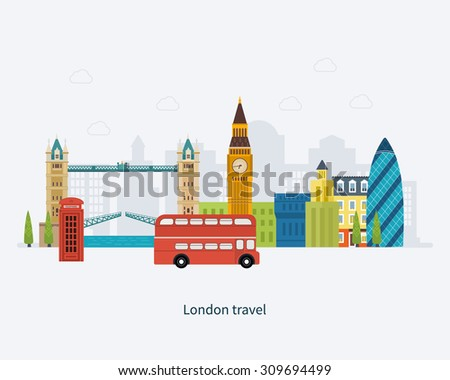 London, United Kingdom flat icons design travel concept. London travel. Historical and modern building. Vector illustration - stock vector