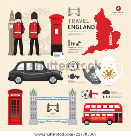 London,United Kingdom Flat Icons Design Travel Concept.Vector - stock vector