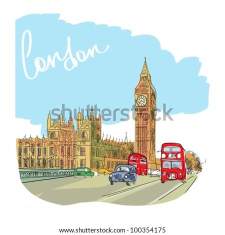 london vector illustration. - stock vector