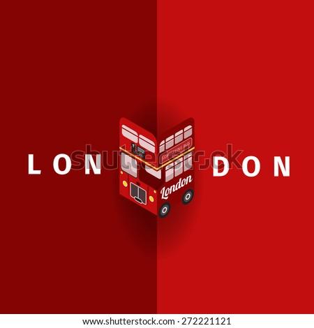 London Vector poster with double decker - stock vector