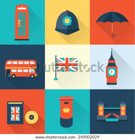 London vintage icons - stock vector