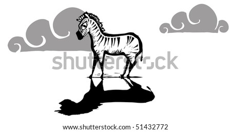 Lone zebra standing with a dark shadow. - stock vector