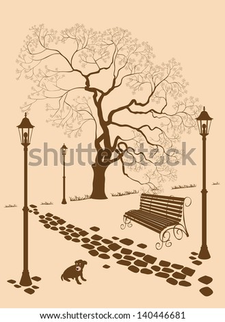 Loneliness, a dog without a master . - stock vector