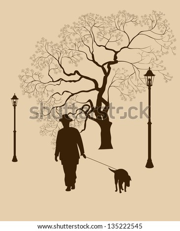 Loneliness, a walk in the park man with a dog - stock vector
