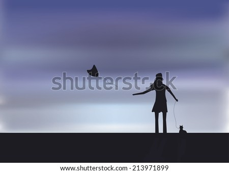 Loneliness woman - stock vector