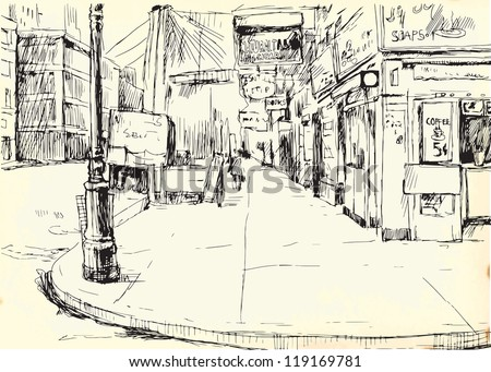 Lonely American Street. Description: Editable in two layers. Number of colors in each layer: no more than sixteen. White color is excluded. Vintage paper (background) in the bottom layer. - stock vector