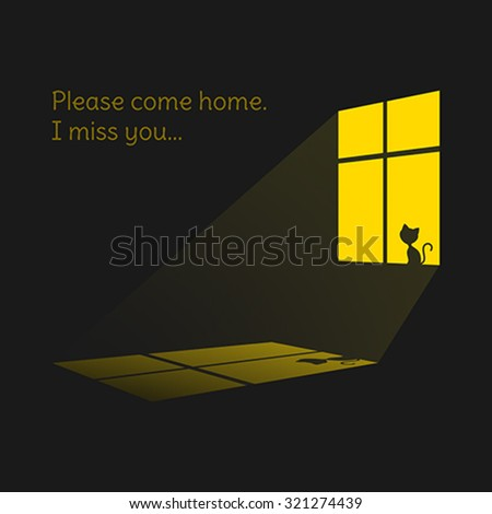 Lonely cat silhouette on yellow window.  - stock vector