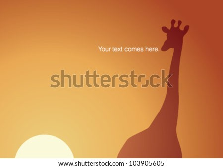 Lonely giraffe standing on sunset - stock vector