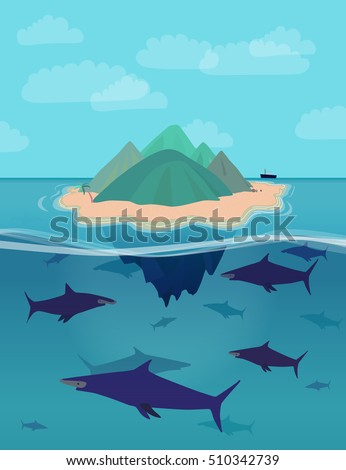 Huge White Whale Under Small Boat Stock Vector 329720609