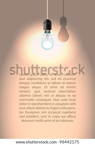 Lonely lamp with shadow on white wall, vector illustration, eps10, easy editable - stock vector