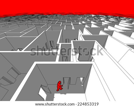 Lonely man  in endless cubical labyrinth