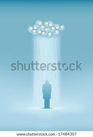 Lonely man in the rain. All elements are layered separately in vector file. - stock vector