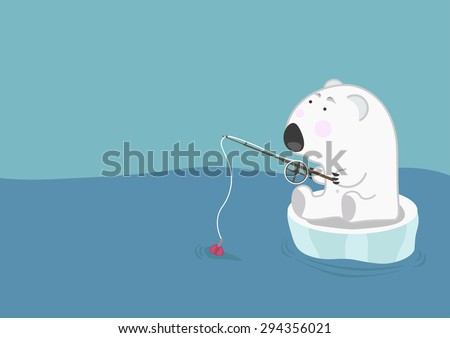 Lonely polar bear on an ice floe floats and fishing. Environmental problems of melting ice - stock vector