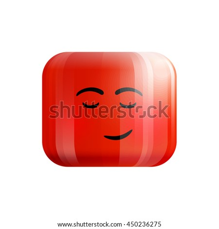 lonely red smiley icon with emotion isolated on white background