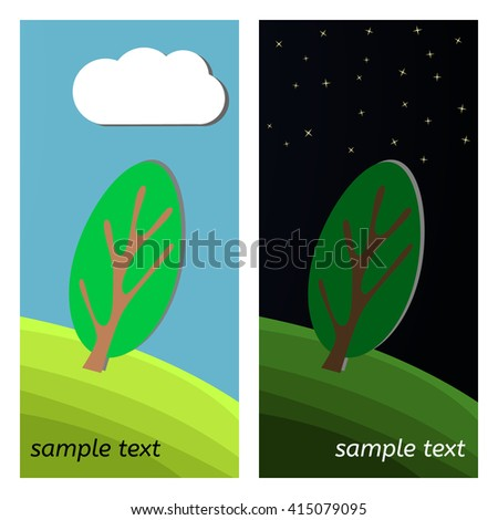 Lonely Tree. Day and Night on a Clearing in the Forest. - stock vector