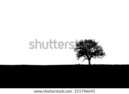 Lonely tree vector silhouette. - stock vector