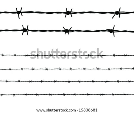 Long barbed wire and two piece close-up vector art - stock vector