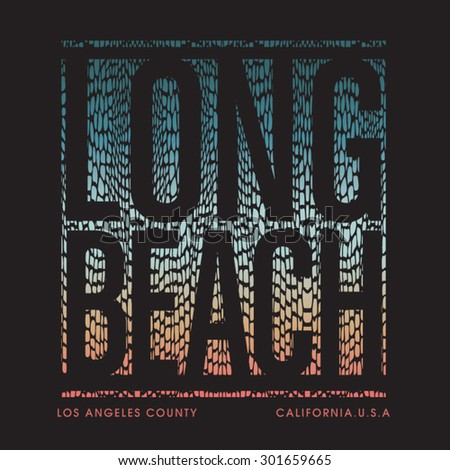 Long beach California typography, t-shirt graphics, vectors,  - stock vector