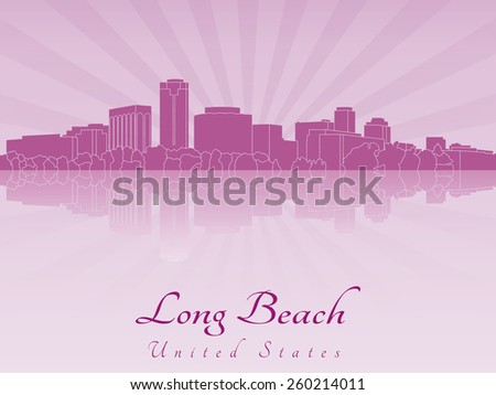 Long Beach skyline in purple radiant orchid in editable vector file - stock vector
