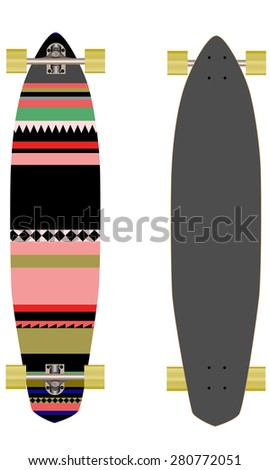Long board isolated white background  - stock vector