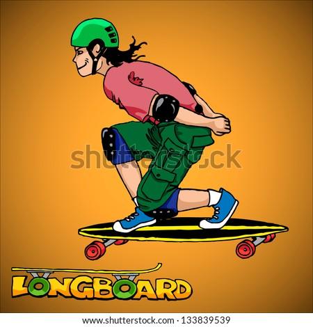 long-boarder - stock vector
