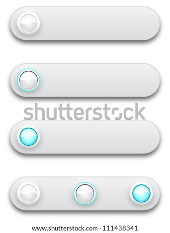 Long button, off, selected and pushed, vector illustration, eps10 - stock vector