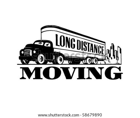 Long Distance Moving - Retro Clip Art - stock vector