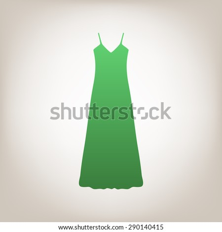 Long Dress, Evening dress, combination or nightie, the silhouette. Menu item in the web design. - stock vector