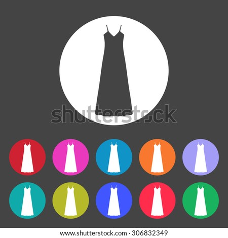 Long Dress, Evening dress, combination or nightie , the silhouette. Menu item in the web design. Set of colored icons. - stock vector