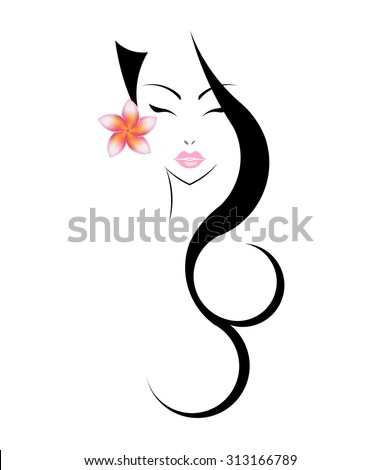 Long hair style icon, logo women face with plumeria flower on white background. - stock vector