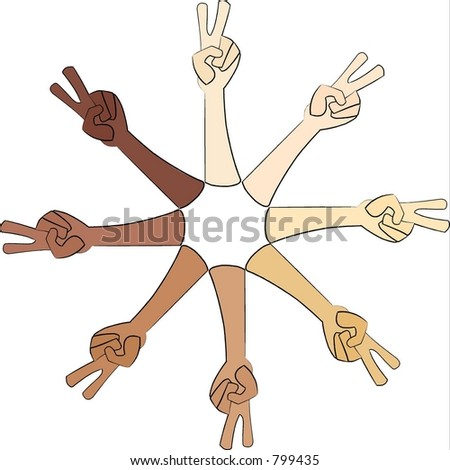 Long hand peace signs - stock vector