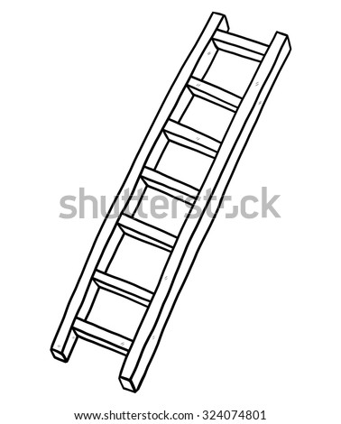 long ladder / cartoon vector and illustration, black and white, hand drawn, sketch style, isolated on white background. - stock vector